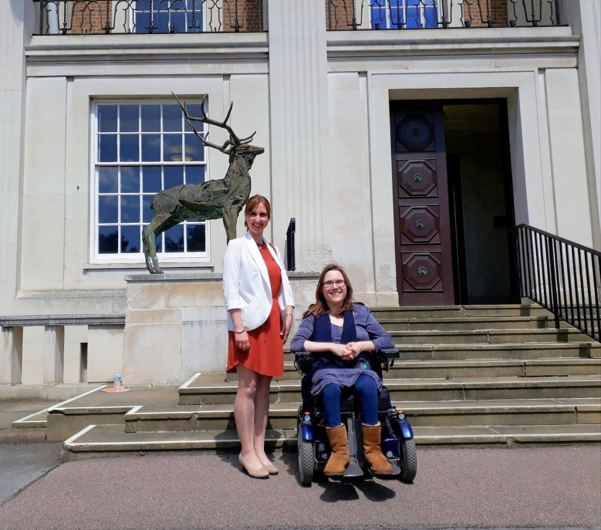 From Left to Right Anna Denham, Research and Engagement Officer for I Can Make It and Bethany Young, Champion for I Can Make It Hertfordshire, in Front of County Hall on Tuesday the 13th of June