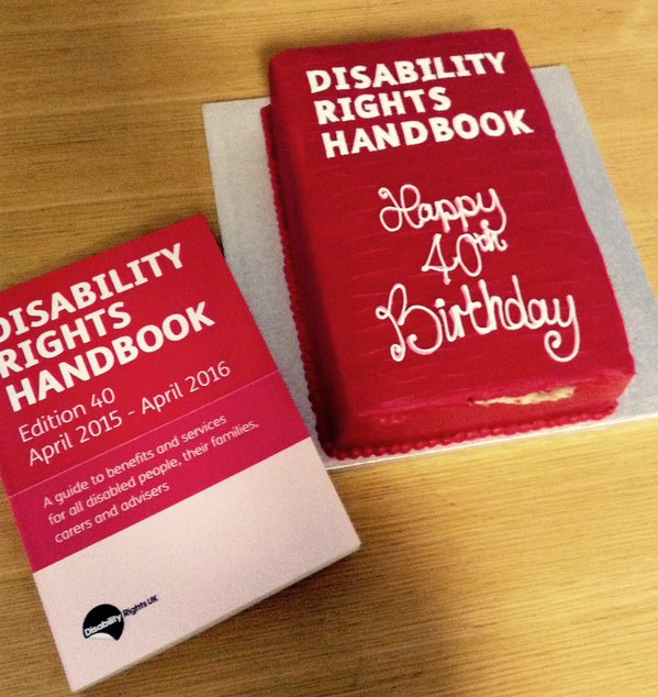 Special cake celebrating 40 years of the Disability Rights Handbook