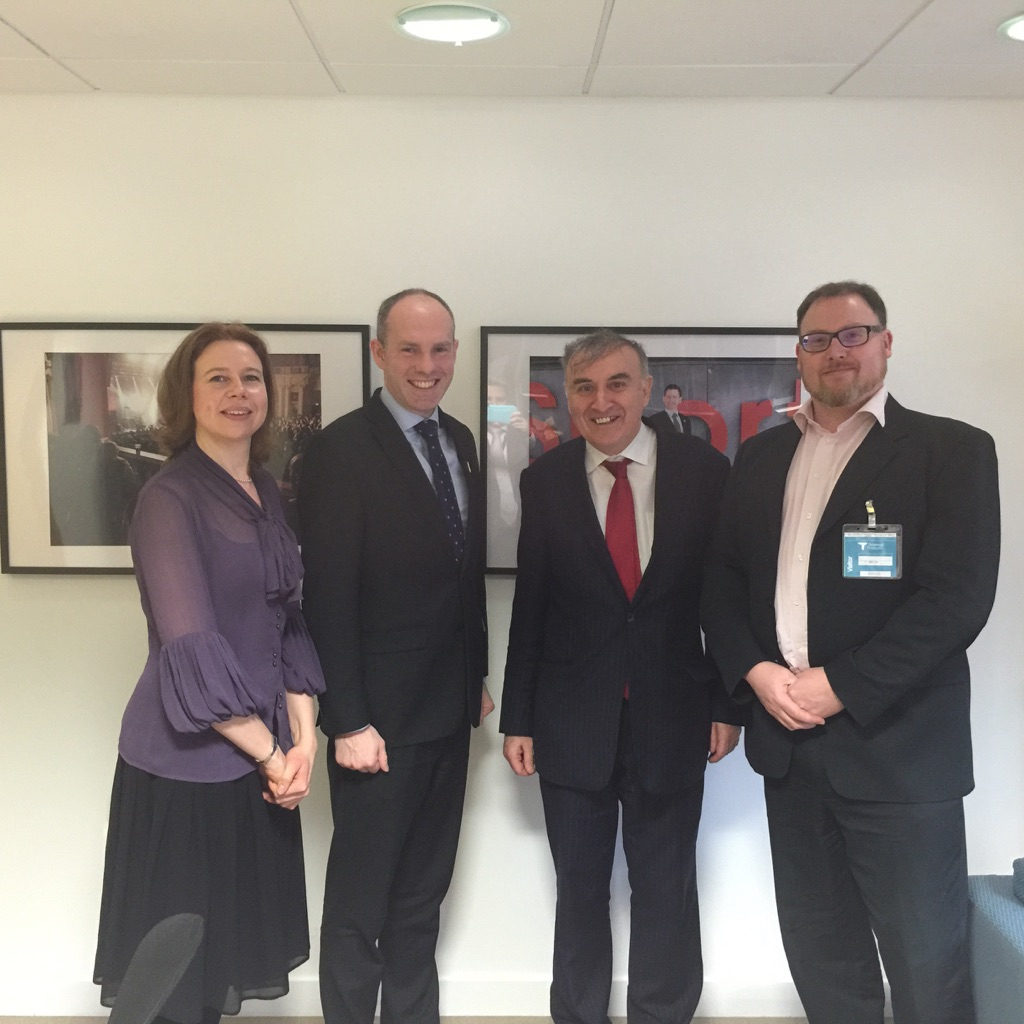 Dr Ursula Hurley of Salford University (principal investigator), Minister for Disabled People Justin Tomlinson MP, Philip Connolly Policy Manager of Disability Rights UK, Joe MacLeod-Iredale professional 3 D digital fabrication designer seen here at DWP's Caxton House.