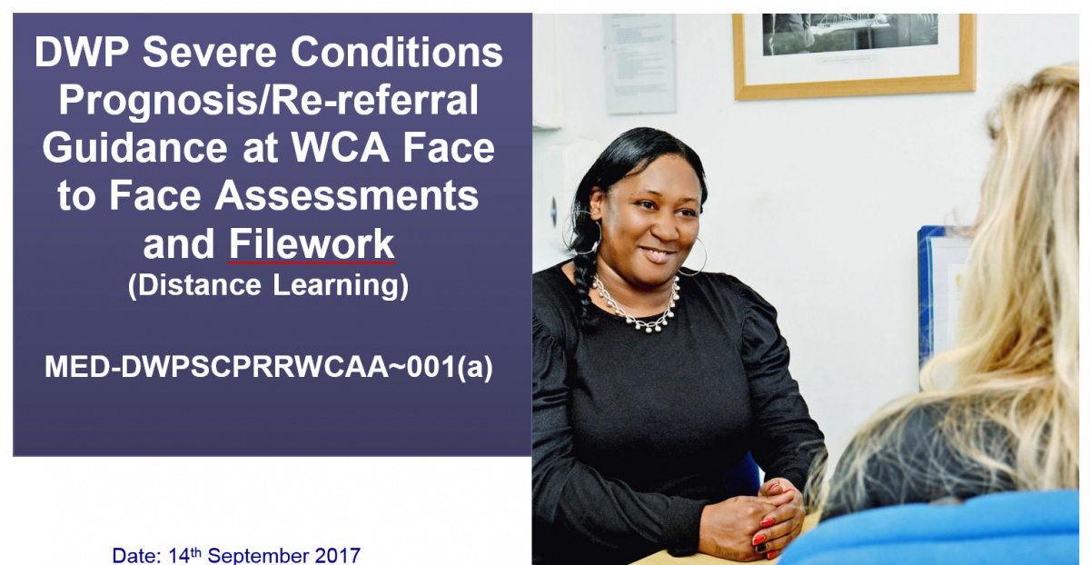 DWP Severe prognosis guidance distance learning