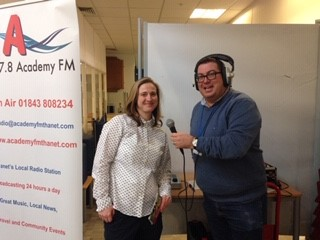 Sarah Johnson (Peer Support Lead) being interviewed by Academy FM