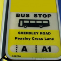 Bus stop sign in north of England