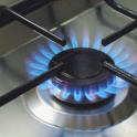 Gas flames on hob