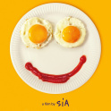 Sia Music film promo poster - a paper plate, with two fried egg eyes and a ketchup smile