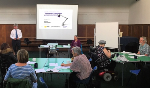 Pensions Trust Event in Brighton, held by Andy Nicholls of the Pensions Regulator and Sue Bott of DR UK