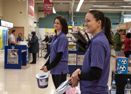 Collecting donations at Tesco