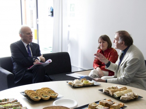 Vince Cable with Disability Rights UK's Liz Sayce and Philip Connolly