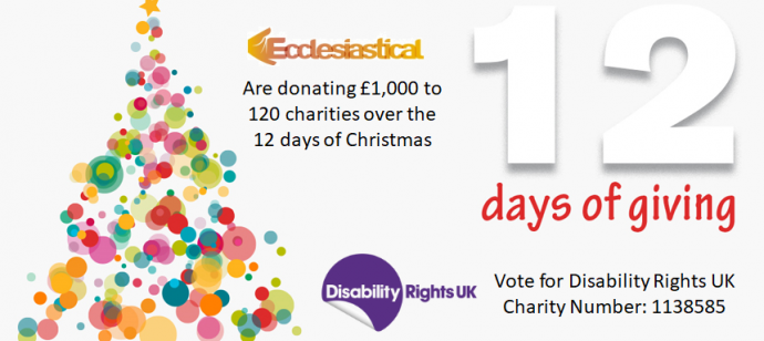 Vote for Disability Rights UK in Ecclesiasticals 12 days of giving